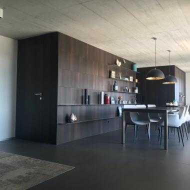 Zona living, boiserie con porta integrata